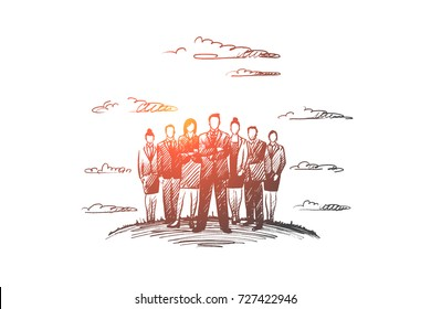 People leader concept. Hand drawn group of business people with leader at front. Successful businessman isolated vector illustration.
