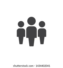 People, leadership vector icon. Work Group Team filled flat sign for mobile concept and web design. Group of three people glyph icon. Persons Crowd symbol, logo illustration. Vector graphics