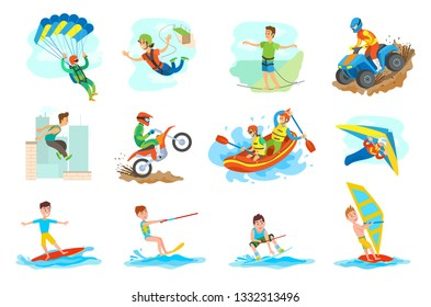 People leading active lifestyle vector, set of person. Parkour and windsurfing, hang gliding and skydiving, bungee jumping and highlining, rafting water