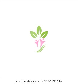 people and leaf logo, dermatology logo, beauty and spa logo. modern and feminine style. specialize in medical and surgical dermatology for adults, teenagers and children.