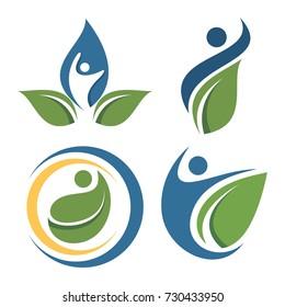 people leaf logo set