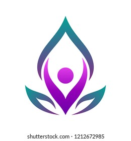 people with leaf for yoga logo design