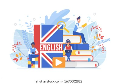 People learning English vector illustration. Distance education, online learning concept. Students reading books cartoon characters. Using hi-tech gadgets for teaching foreign languages