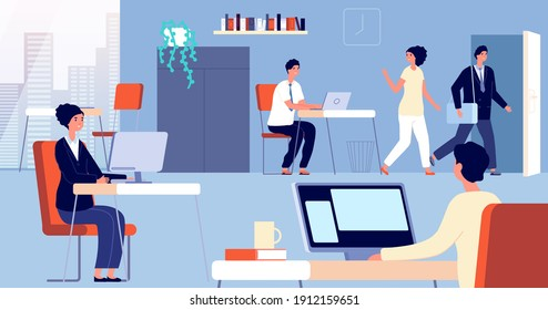 People leave office. Employee open door, man woman going home from work. Flat managers leaving job, person go to exit utter vector concept