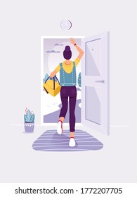 People leaving home. Back view. Lady staing in the doorway. Woman running into open door. Exit and escape concept. Trendy flat vector illustration.