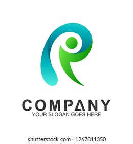 people letter R logo template