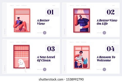 People Life and Neighborhood Website Landing Page Set. Male Female Characters and Domestic Cat in Windows. Drinking Coffee, Reading, Watering Plants Web Page Banner. Cartoon Flat Vector Illustration