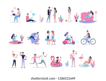 People lifestyle color vector flat illustration set
