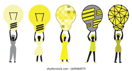 People and Light Bulb Design Icon, Idea Element Characters Vector Collection. Different Persons Holding Electro Energy Retro Lamp Shapes, Set of Abstract Lightbulb Silhouettes