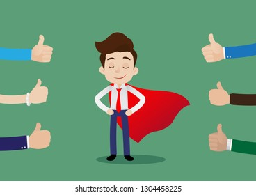 People like and give a thumbs up to super hero businessman in red cape, Cartoon vector illustration
