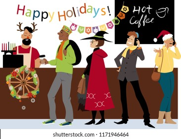 People in line to a cash register in a coffee shop, celebrating religious diversity during holiday season EPS 8 vector illustration