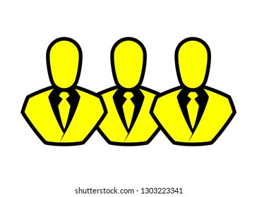 People line icon. Outline persons solid, group linear black pictogram. Simple image business collective people. Labor men collective silhouette. Office flat staff icon, bodyguards. Employees of bank