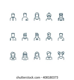 People line icons. Vector user linear signs or profile outline symbols. Line human avatar pictograms