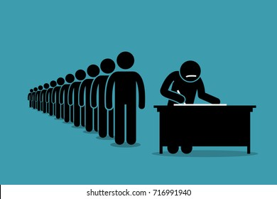 People in line and queue signing for petition with signatures. Vector artwork depicts protest, voting, registration, and declaration.