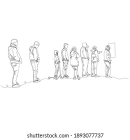 people in line. people stand at a distance. vector contour image with a single line. infinite line