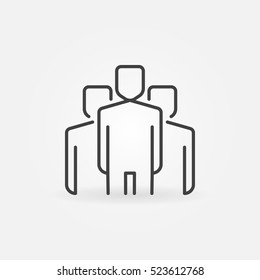 People linear icon. Vector team with leader in center concept outline symbol or logo element