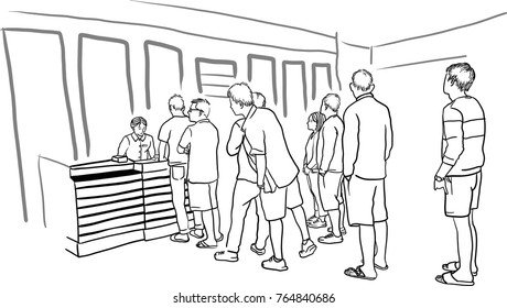 People lined up in a queue waiting, Young people waiting in line to buy the ticket tickets