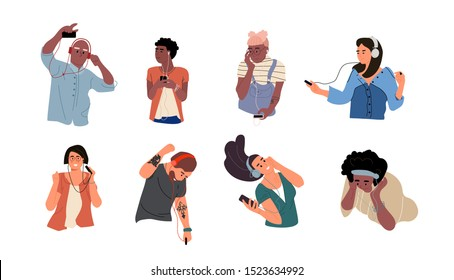 People listen to music. Dancing cartoon young characters with smartphones and headphones. Vector illustrations isolated happy teenagers listening smartphone through earphones set