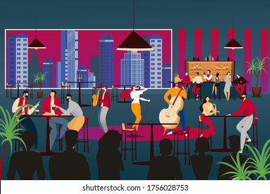 People listen to musician in modern design cafe, vector illustration. Music band perform at restaurant, jazz music with lady singer, man play on contrabass and saxophone. Cozy evening in bar.