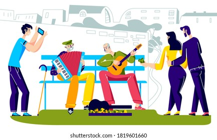 People listen to senior street performers playing on musical instruments in city. Old men street musicians playing on guitar and accordion. Cartoon vector illustration
