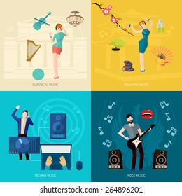 People listening music design concept set with classical relaxing techno rock flat icons isolated vector illustration