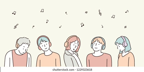 People are listening to music with headphones. hand drawn style vector design illustrations.