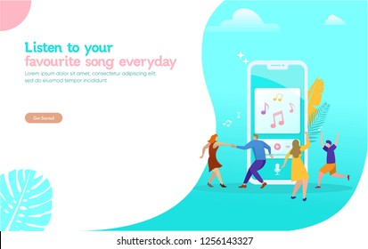 People listening to their favourite the music, and dancing vector illustration concept, can use for, landing page, template, ui, web, mobile app, poster, banner, flyer