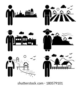 People Living in City Cottage House Small Town Highlands Seaside Village Home Stick Figure Pictogram Icon
