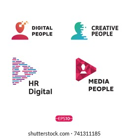 People logo design template set. Vector colorful HR logotype, sign and symbol. Digital human badge icon isolated on background. Graphic media person concept idea and creative man head brain label