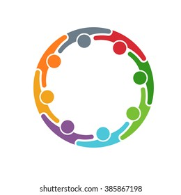 People logo. Group of eight persons in circle. Vector graphic design
