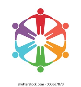 People logo. Group of six persons