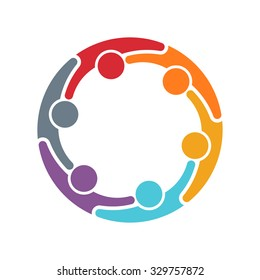 People logo. Group of six persons in circle