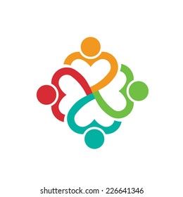 People logo heart 4 persons.Concept of love.Vector icon