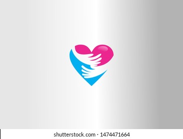 People logo, heart shape, hands, together, couple, love red logo.