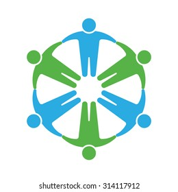 People logo. Holding hands in circle