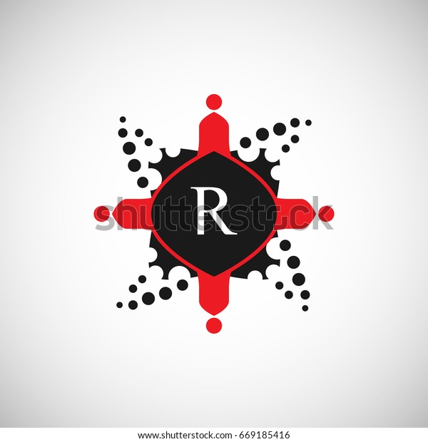 People Logo Letter R Design Red Stock Vector (Royalty Free