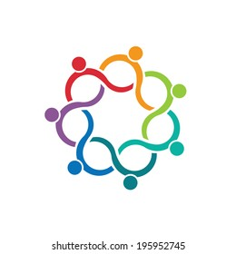 People logo Teamwork Wave Group of 7 relationship and collaboration