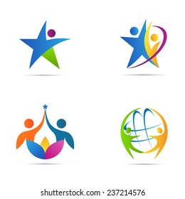 People logos vector design represents fitness, success, signs and symbols.