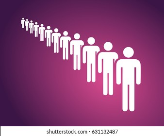 People in a long queue on the violet background. Vector Illustration.
