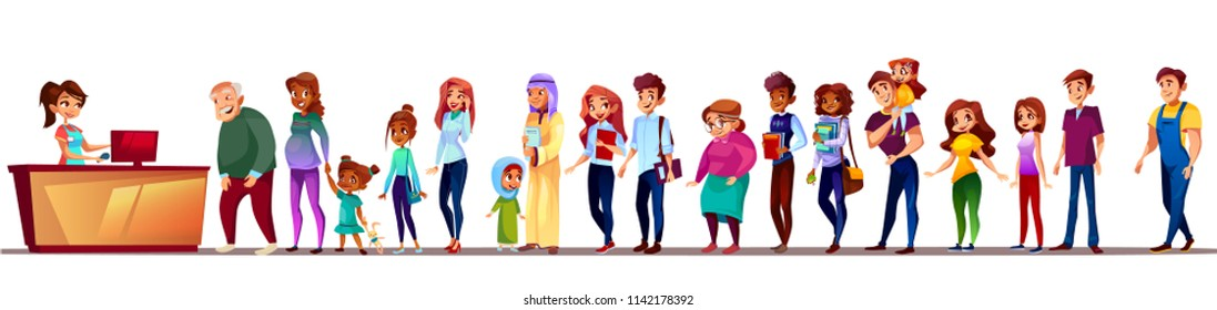 People in long queue vector illustration. Black Afro American pregnant woman with girl, Saudi Arabian old man or students and kid boys standing and waiting with patience at ticket registration counter