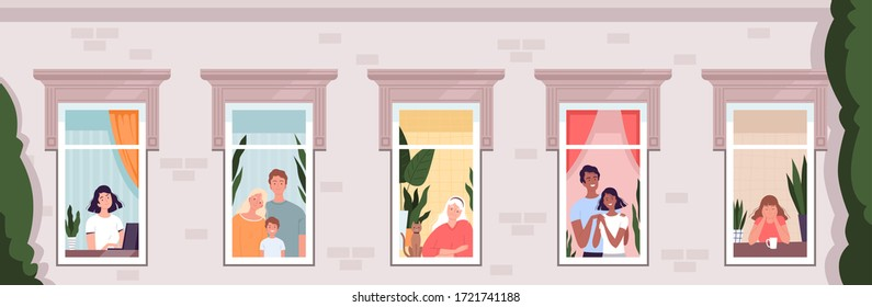 People look out of the windows of the house. Horizontal banner. The concept of social distance, isolation and quarantine due to the coronavirus COVID-19