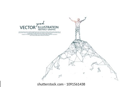 People looking into the distance from a high point, connected by dotted lines, vector illustrations.