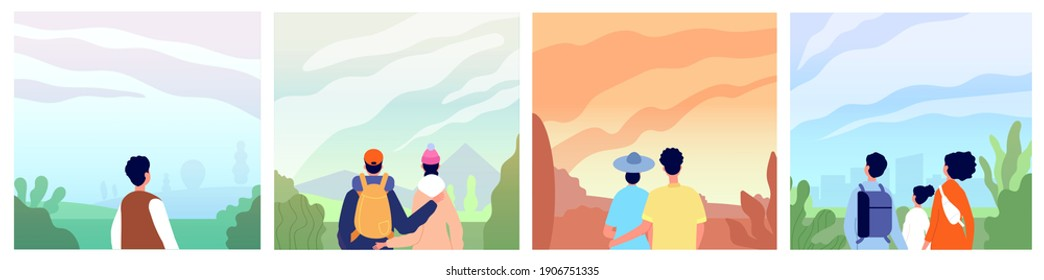 People looking landscape. Adventure in mountains, couple backpackers explore nature. Guys look sunrise on sky, travel utter discovery vector scenes