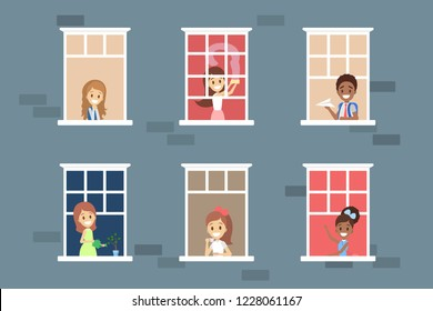 People looking out of the window set. Neighbors children in their apartment. Flat vector illustration