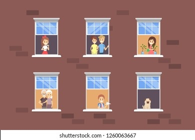 People looking out of the window set. Neighbors in their apartment. Flat vector illustration