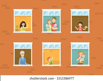People Looking Out of Windows Set, Neighbors in Their Apartments Greeting Through the Windows Vector Illustration