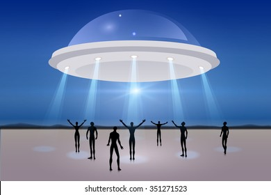 People looking at UFO in the sky