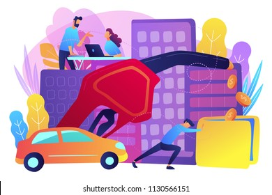 People loosing money by using gas fuel cars. Gas mileage, fuel saving and efficient green eco friendly engine technology concept. Violet palette. Vector illustration on white background.