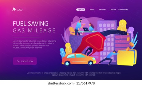 People losing money by using gas fuel cars. Fuel saving and gas mileage landing page. Fuel economy and efficient green eco friendly engine technology. Vector illustration on ultraviolet background.