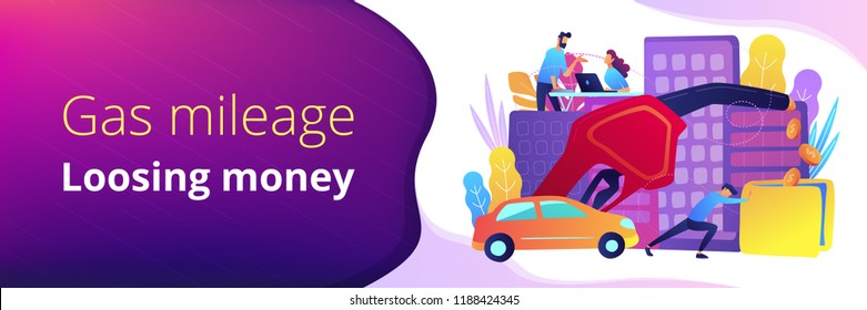 People losing money by using gas fuel cars. Fuel saving and gas mileage landing page. Fuel economy and efficient green eco friendly engine technology. Header or Footer banner template, copy space.